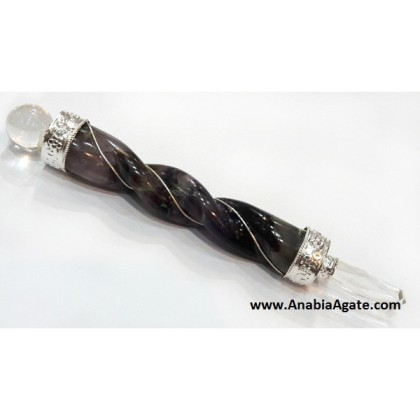 AMETHYST TWISTED WIRE-WRAPPED HEALING STICK