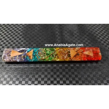 CHAKRA LAYERED DYED ORGONE FLAT STICK WITH COPPER COIL AND TRIANGLES