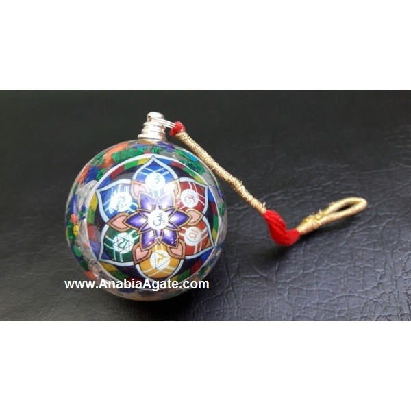 CHAKRA SANSKRIT FLOWER OF LIFE ORGONE BALL PENDULUM