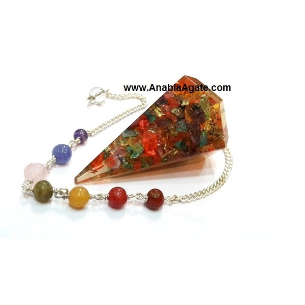 DYED SIX FACET ORGONE PENDULUM WITH CHAKRA CHAIN