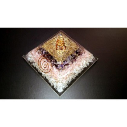 R.A.C BIG SIZE ORGONE PYRAMID WITH WIRE WRAP CRYSTAL POINT