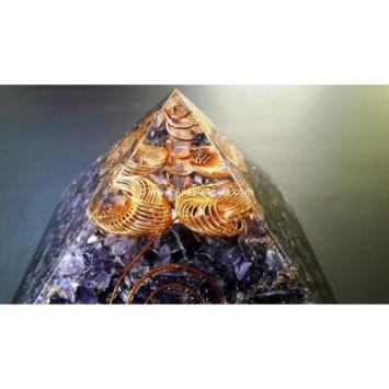 AMETHYST ORGONE BIG PYRAMID WITH WIRE WRAP CRYSTAL POINT