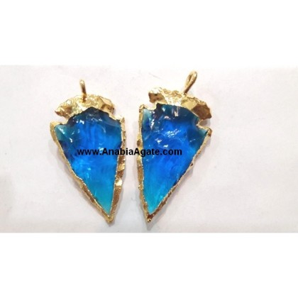 1 INCH DARK BLUE COLOR ELECTROPLATED GLASS ARROWHEAD PENDANTS