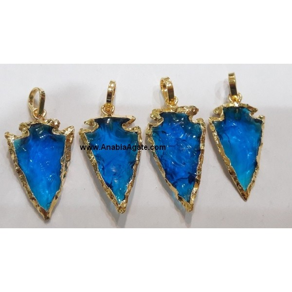 1 INCH BLUE COLOR GLASS ELECTROPLATED ARROWHEAD PENDANT