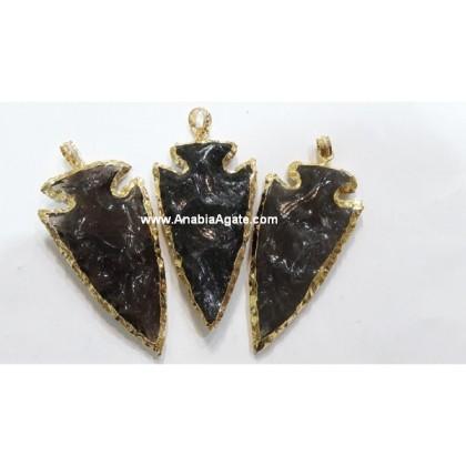 2 INCH BLACK OBSIDIAN ELECTROPLATED ARROWHEAD PENDANT