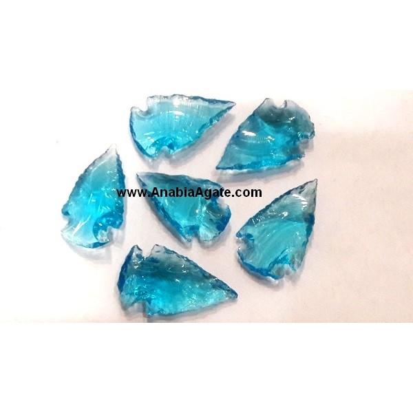 LIGHT BLUE COLOR GLASS ARROWHEADS (1INCH)