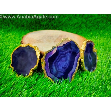 Purple Color Golden Electroplated Agate Coaster