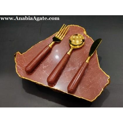 Red Jasper Platter with 3 pcs Cutlery Set