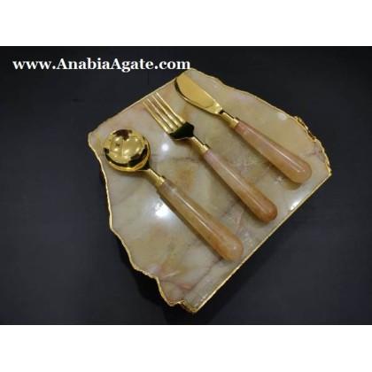 Yellow Aventurine Platter with 3 Pcs Cutlery Set