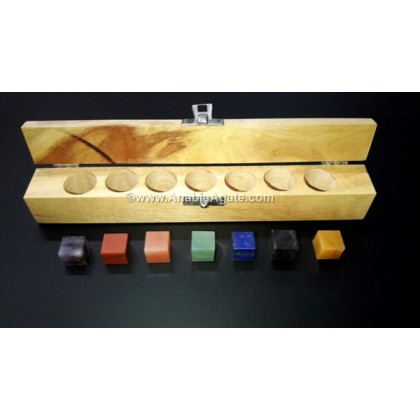 Chakra Cube Set With Wooden Box